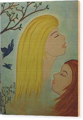 Spiritual Embrace Wood Print by Marie Tucker