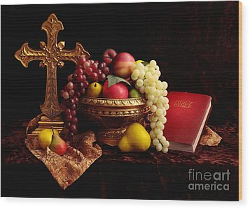 Spiritual Fruit Wood Print by Pattie Calfy