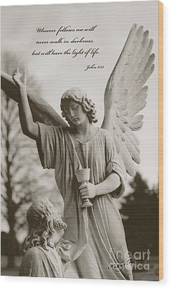 Spiritual Religious Angel Art With Jesus  Wood Print by Kathy Fornal