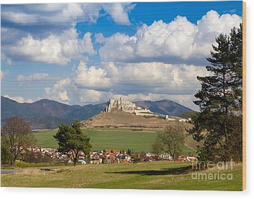 Wood Print featuring the photograph Spissky Hrad - Castle by Les Palenik