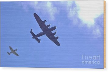 Spitfire  Lancaster Bomber Wood Print by John Williams