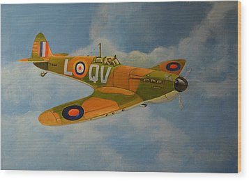 Wood Print featuring the painting Spitfire Mk1a by Murray McLeod