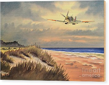 Spitfire Mk9 - Over South Coast England Wood Print by Bill Holkham
