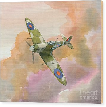 Wood Print featuring the painting Spitfire Study by Michael Swanson