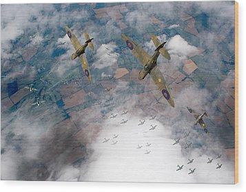 Raf Spitfires Swoop On Heinkels In Battle Of Britain Wood Print by Gary Eason