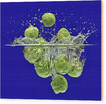 Splash-brussels Sprouts Wood Print