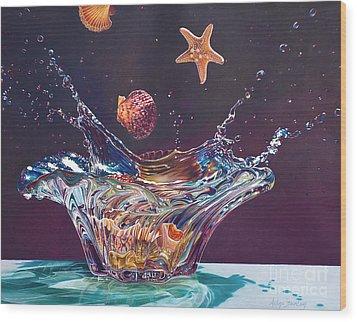 Splash Down Wood Print by Arlene Steinberg