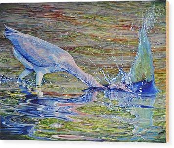 Splash Fishing Wood Print by AnnaJo Vahle