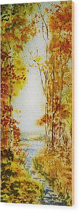 Splash Of Fall Wood Print by Irina Sztukowski