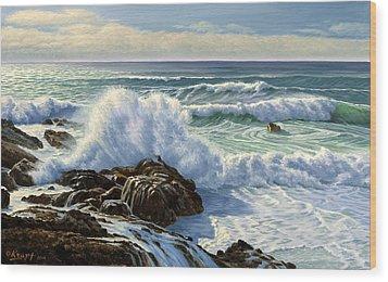 Splash Seascape Wood Print by Paul Krapf