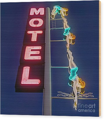 Splashdown Motel Wood Print by Martin Konopacki