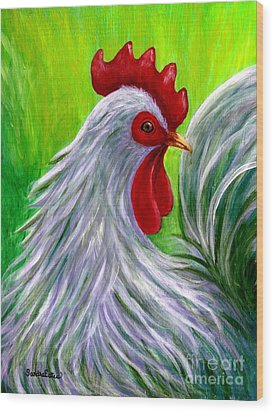 Splashy Rooster Wood Print by Sandra Estes