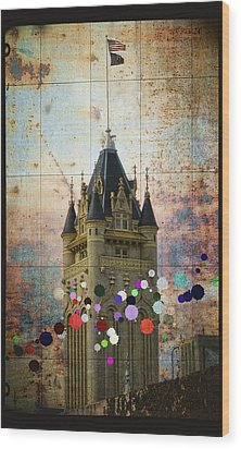 Splattered County Courthouse Wood Print by Daniel Hagerman