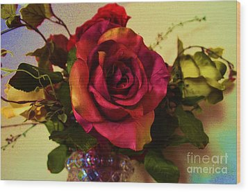 Splendid Painted Rose Wood Print by Luther Fine Art
