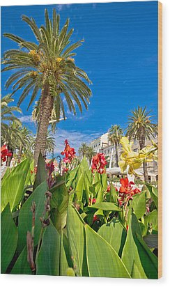 Split Riva Palms And Flowers Wood Print by Brch Photography