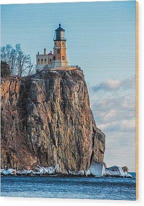 Split Rock Lighthouse In Winter Wood Print