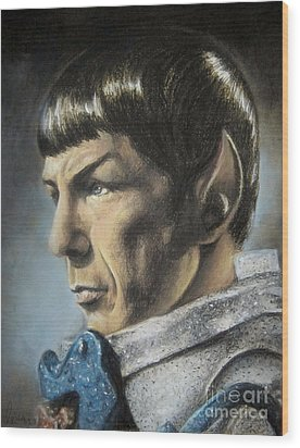 Spock - The Pain Of Loss Wood Print by Liz Molnar