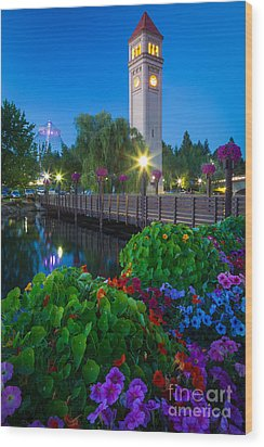 Spokane Clocktower By Night Wood Print by Inge Johnsson