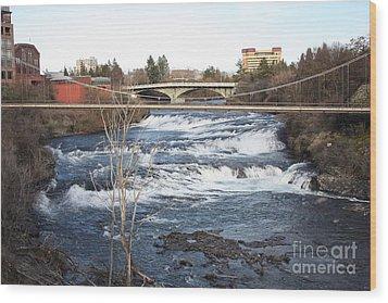 Spokane Falls In Winter Wood Print by Carol Groenen
