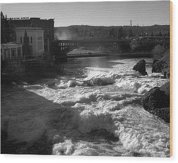 Spokane Falls Spring Flow Wood Print