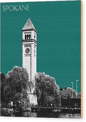 Spokane Skyline Clock Tower - Sea Green Wood Print by DB Artist