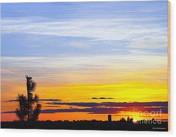 Spokane Wa Sunset Wood Print by Chris Heitstuman