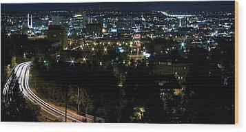Spokane Washington Skyline At Night Wood Print by Daniel Hagerman