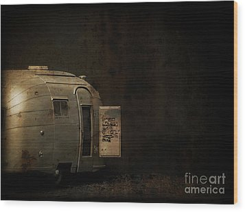 Spooky Airstream Campsite Wood Print by Edward Fielding