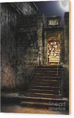 Spooky Backlit Door Way In Moon Light Wood Print by Oleksiy Maksymenko