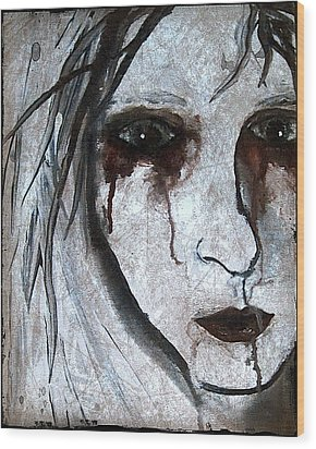 Spooky Gothic Zombie Portrait Painting Fine Art Print Wood Print by Laura Carter