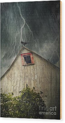 Spooky Old Barn With Crows On A Stormy Night Wood Print by Sandra Cunningham