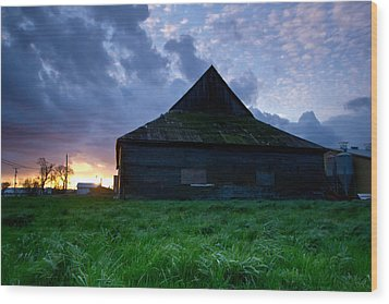 Spooky Shadow Barn Wood Print by Eti Reid