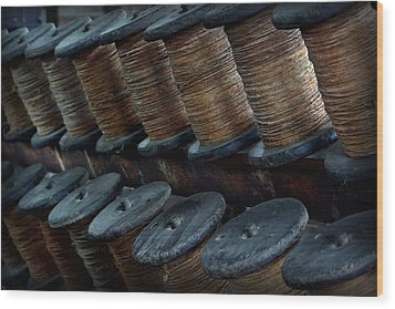 Wood Print featuring the photograph Spools In A Row by Nadalyn Larsen