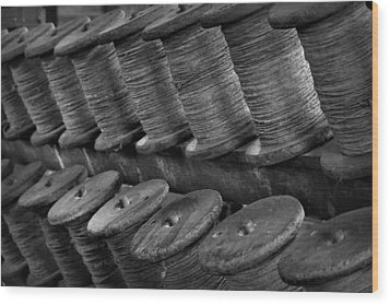 Wood Print featuring the photograph Spools In The Rope House by Nadalyn Larsen