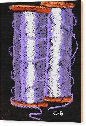 Spools Of Thread Purple 1 Wood Print by Joseph Hawkins