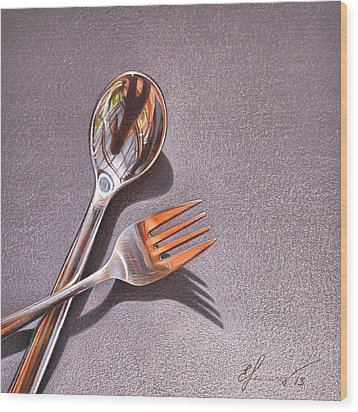 Spoon And Fork 1 Wood Print by Elena Kolotusha