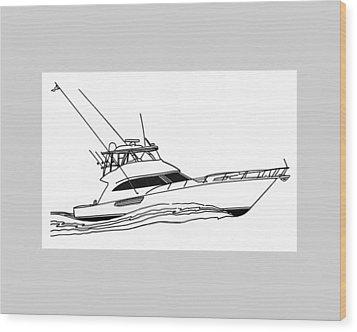 Sport Fishing Yacht Wood Print by Jack Pumphrey