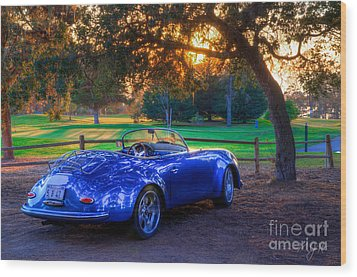 Sports Car Golf Course Sunset Wood Print