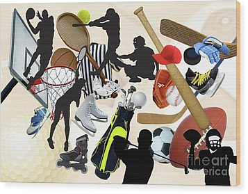 Sports Sports Sports Wood Print by Susan  Lipschutz
