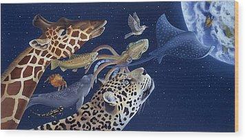 Spots Collage Wood Print by Laura Regan