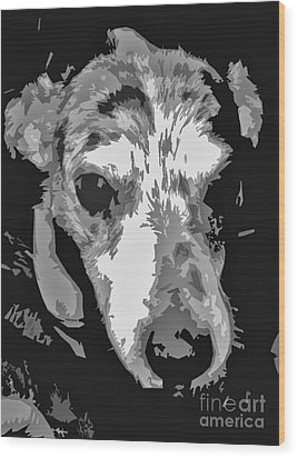 Spotted Dog Black And White Wood Print by Minding My  Visions by Adri and Ray