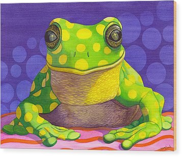 Spotted Frog Wood Print