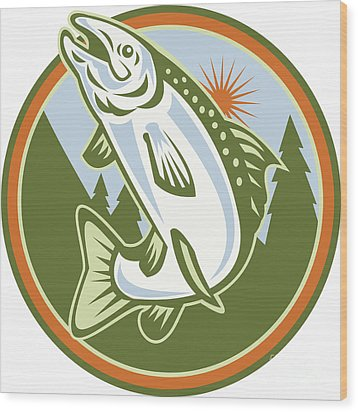 Spotted Speckled Trout Fish Jumping Wood Print by Aloysius Patrimonio