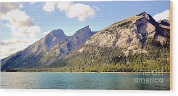 Spray Lake Mountains Wood Print