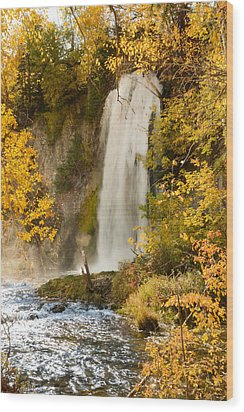 Spray Rises From Spearfish Falls Wood Print