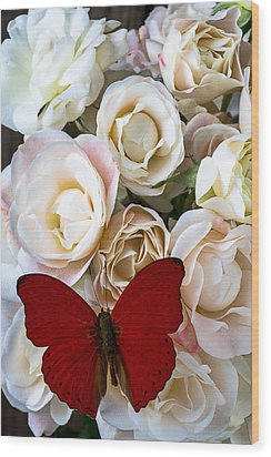 Spray Roses And Red Butterfly Wood Print by Garry Gay