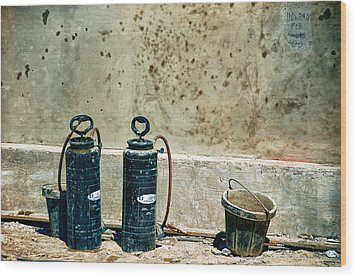 Wood Print featuring the photograph Sprayers And Buckets by Trever Miller