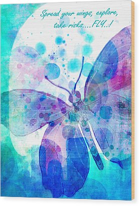 Spread Your Wings Wood Print by Robin Mead