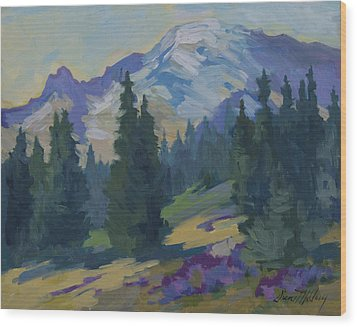Spring At Mount Rainier Wood Print by Diane McClary