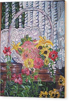 Spring Basket Wood Print by Linda Vaughon